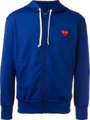 Embroidered Logo Hoodie Men Polyester M, Blue