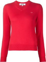 Mini Heart V Neck Jumper Women Cotton L, Women's, Red