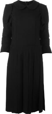 Pleated Detailing Dress Women Cashmerewool S, Black