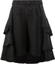 Pleated Tiered Full Skirt Women Polyester M, Black