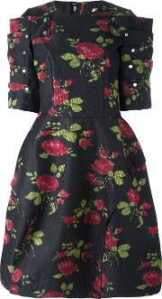 Rose Print Full Dress Women Silkpolyester S, Black