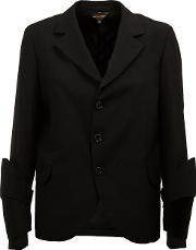 Three Button Blazer Women Cottoncuprowool M, Women's, Black