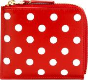 'polka Dots Printed' Zip Wallet Unisex Leather One Size, Red