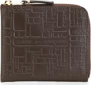 Comme Des Garcons Wallet 'embossed Logo' Wallet Unisex Calf Leather One Size, Brown