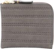 Embossed Stitch Wallet Men Leather One Size, Grey