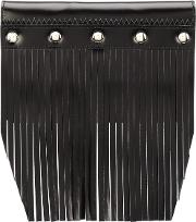 Fringed Stud Detail Wallet Unisex Leather One Size, Black