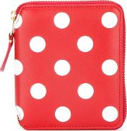 Polka Dot Wallet Unisex Leather One Size, Red
