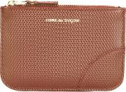 Textured Zipped Purse Men Calf Leather One Size, Brown