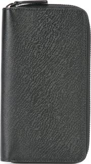 All Around Zip Wallet Men Calf Leather One Size, Black