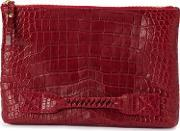 Top Zip Clutch Men Cottoncrocodile Leather One Size, Red
