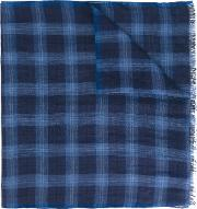 Checked Scarf Men Linenflaxsilk One Size, Blue