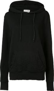Distressed Pullover Hoodie Women Cotton S, Black