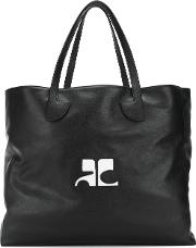 Courreges Logo Tote Bag Women Leather One Size, Black