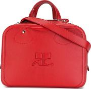 Double Handles Medium Tote Women Calf Leathercotton One Size, Red