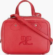 Embossed Logo Shoulder Bag Women Calf Leather One Size, Women's, Red