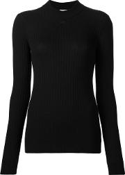 High Neck Ribbed Blouse Women Merino 3, Black