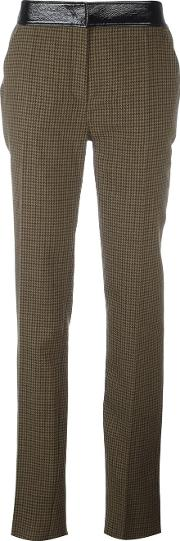 Houndstooth Trousers Women Cottonpolyurethanecuprowool 40, Green