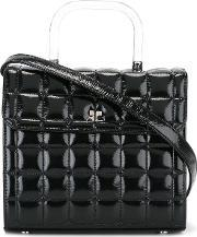 Quilted Cross Body Bag Women Patent Leather One Size, Women's, Black