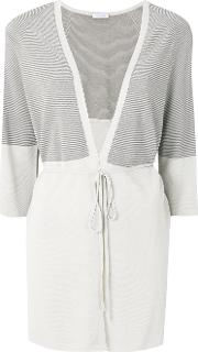 Striped Tie Front Cardigan