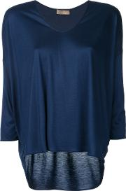 Three Quarters Sleeve Blouse Women Viscose 44, Blue