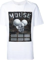 Mouse Print T Shirt Men Cotton S, White