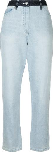 Cyclas Cropped Jeans With Contrasting Waistband Women Cottonpolyurethane 1, Blue