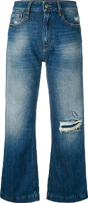 Distressed Cropped Jeans Women Cotton 26, Blue