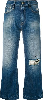 Distressed Cropped Jeans Women Cotton 28, Blue