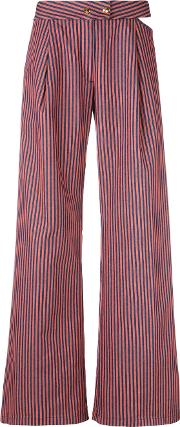 Flared Striped Trousers Women Cottonspandexelastane 28, Yelloworange