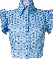 Fitted Frill Sleeve Blouse Women Cotton 40, Blue