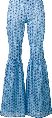 Fitted Patterned Flare Trousers Women Cotton 38, Blue