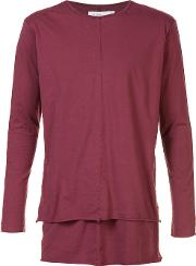 Long Sleeve Layered T Shirt Men Cotton S, Red