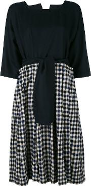 Checked Dress Women Wool One Size, Blue