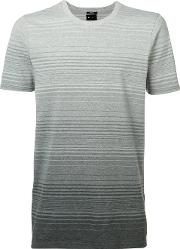 Ombre Stripe T Shirt Men Cottonspandexelastane M, Grey