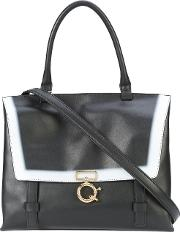 Contrast Detail Tote Women Nappa Leather One Size, Black