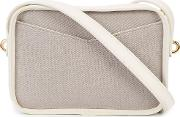 Contrast Panel Cross Body Bag Women Cottonnappa Leather One Size, White