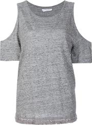 Cut Off Sleeves Blouse Women Linenflax M, Grey