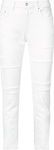 Frayed Patch Jeans Women Cottonpolyesterspandexelastane 25, White