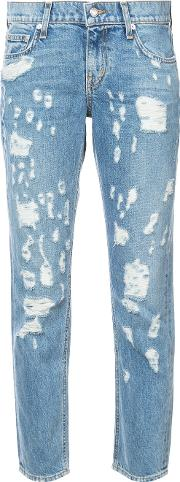 Ripped Cropped Jeans Women Cotton 26, Blue