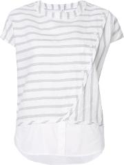 Striped Layered Buttoned T Shirt Women Cottonlinenflax M, White