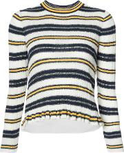 Striped Ribbed Jumper Women Cotton S, White