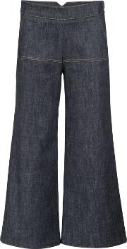 Bootcut Cropped Trousers Women Cotton 40, Blue