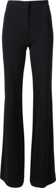 Flared Leg Trousers Women Polyamidespandexelastaneviscose 40, Black