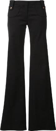 Flared Trousers Women Cottonelastodienepolyamide 40, Black