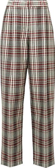 High Rise Plaid Trousers Women Virgin Wool 38, Black