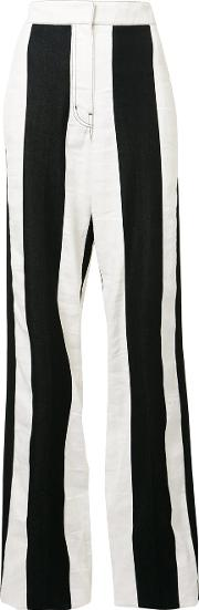 High Rise Striped Trousers Women Cottonlinenflax 40, Black
