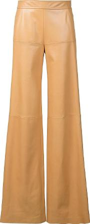 High Waist Leather Trousers Women Lamb Skin 40, Nudeneutrals