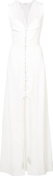 Lace Up Detail Layered Gown
