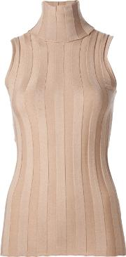 Ribbed Roll Neck Top Women Silkcashmere M, Brown