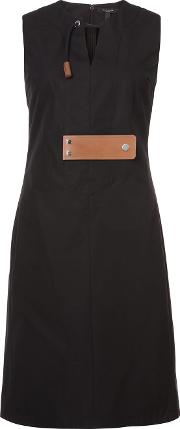 Sleeveless Dress With Leather Tab Detail